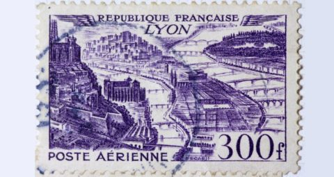 A used postage stamp for 300 francs